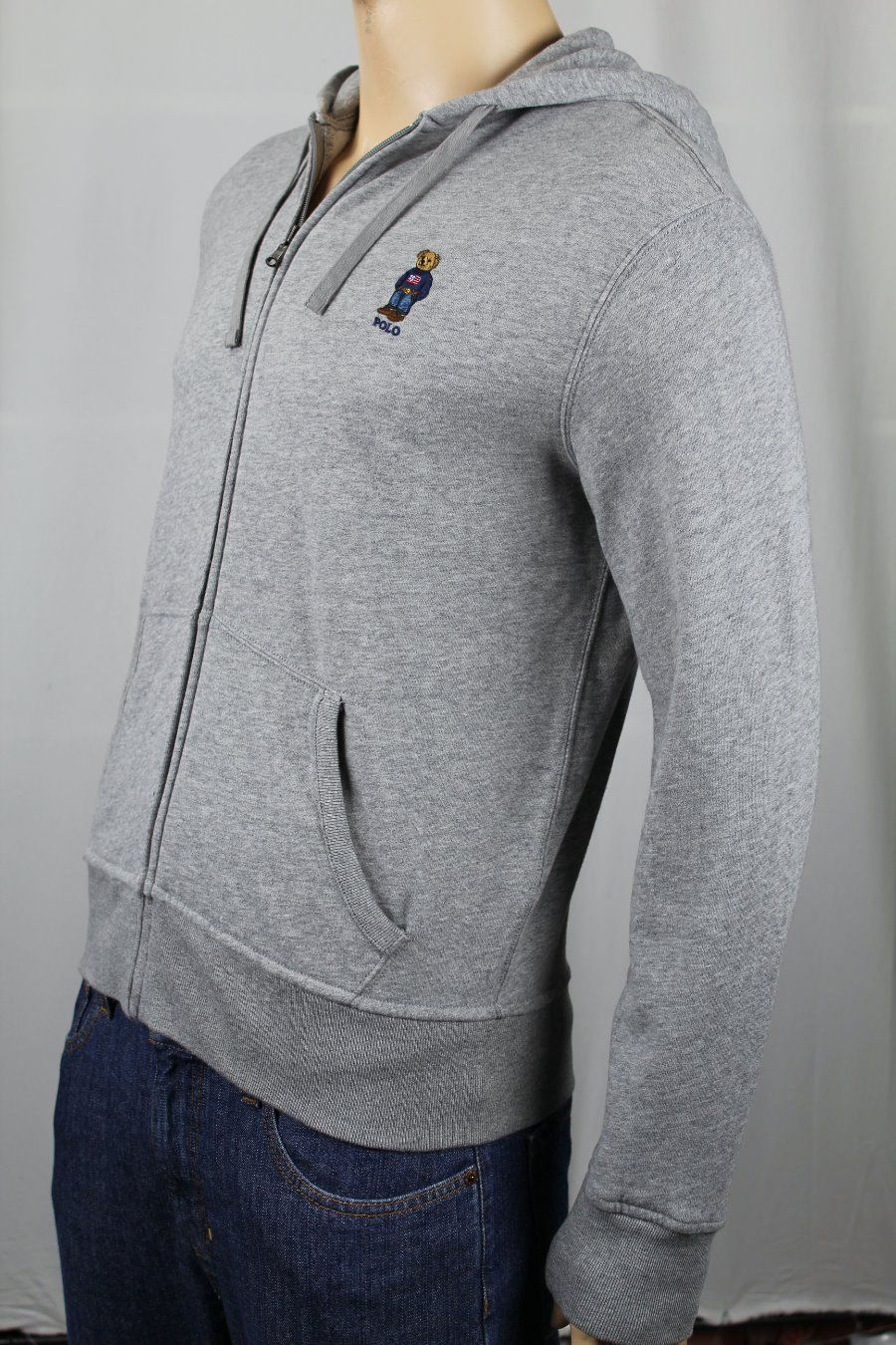 Ralph Lauren Grey Flag Sweater Polo Bear Hoodie Full Zip Sweatshirt NWT