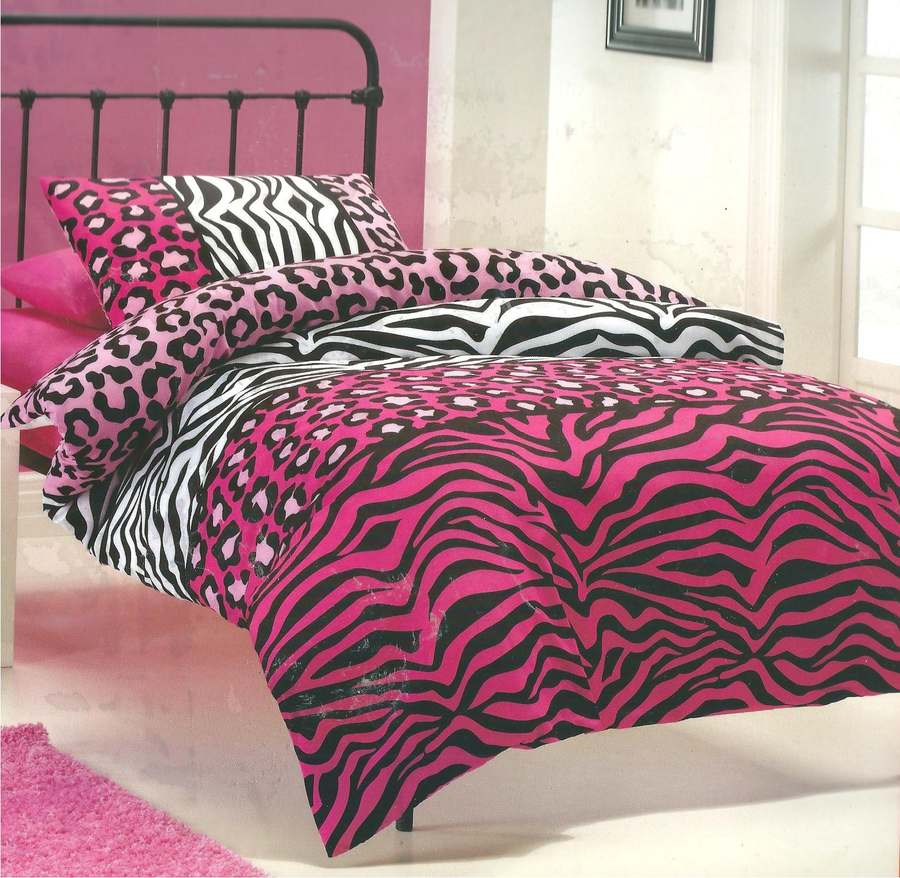 LEOPARD-ZEBRA-ANIMAL-PRINT-PINK-BLACK-WHITE-SINGLE-TWIN-bed-QUILT-DOONA-COVER