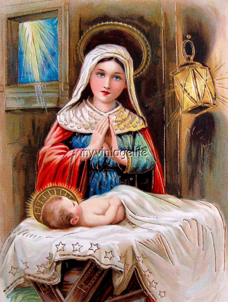 vintage virgin mary baby jesus fabric block ebay