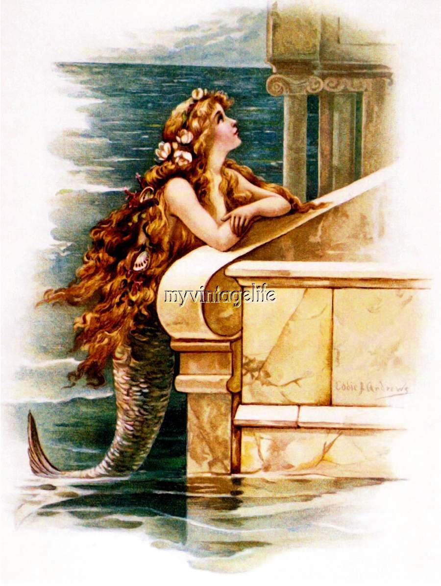 Vintage Mermaid searching for her Prince Quilting Fabric Block