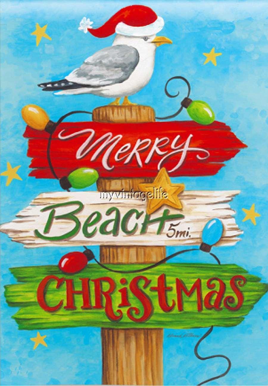 Merry Beach Christmas Quilting Fabric Block