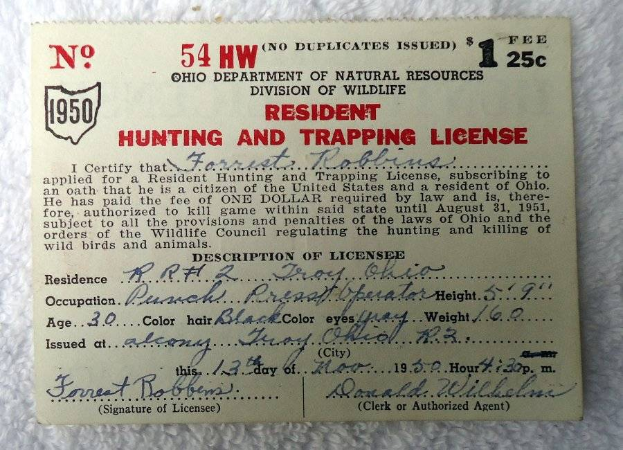 Ohio 1950 resident hunting trapping license no 54 hw for Ohio fishing license online