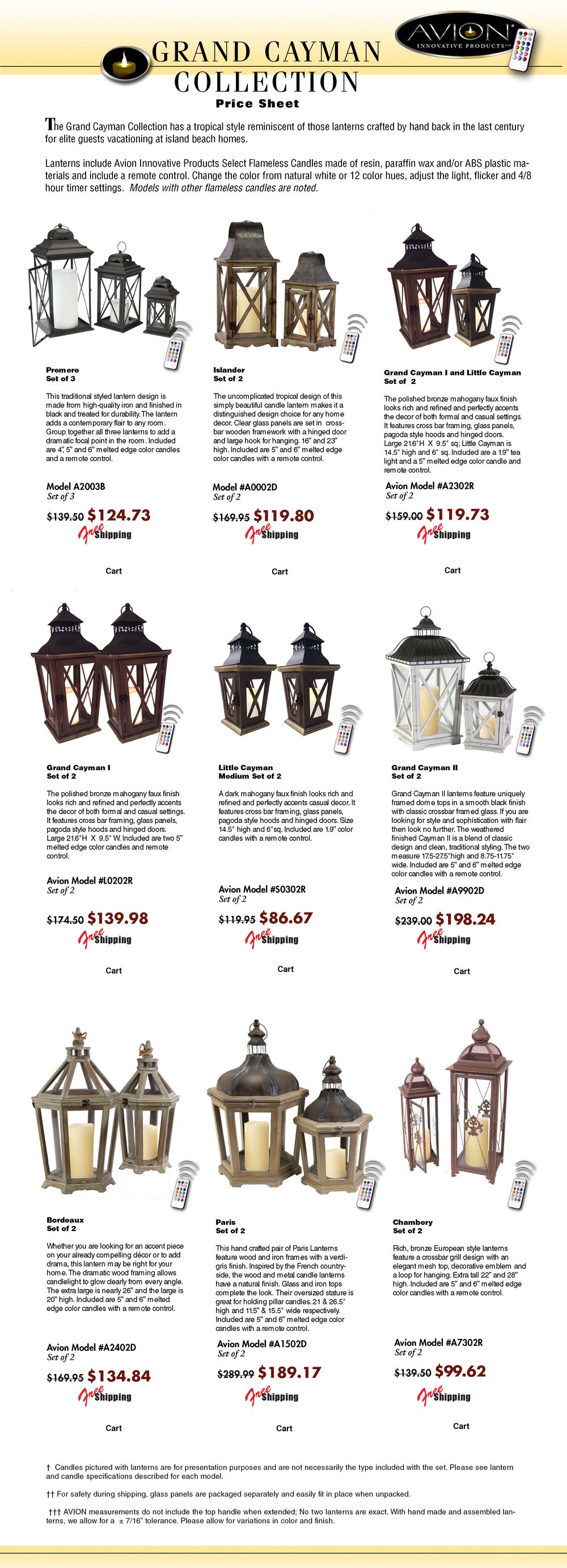 Specification sheet for avioninnovative candle lantern. The Avion collection features quality metal lanterns, wood lanterns, stainless steel lanterns melrose, classic, traditional, modern imax, tropical urban trends, cottage style lanterns like pottery barn, gerson everlasting glow motion flame LED candles; color candles from mooncandles, Kohree, like luminara, candle lamps plus wax. The package price list includes LED battery operated candles, flameless candles, a remote control timer, candle change colors 12 different colors by remote
