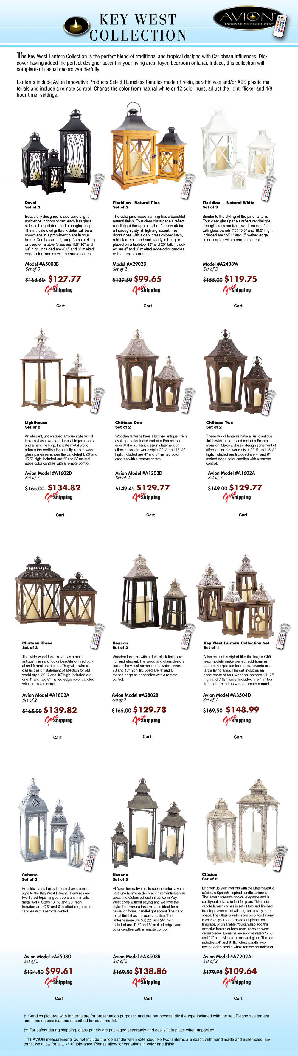 Specification sheet for avioninnovative candle lantern. The Avion collection features quality metal lanterns, wood lanterns, stainless steel lanterns from melrose, classic, traditional, modern imax, tropical urban trends, cottage style lanterns like pottery barn, gerson everlasting glow motion flame LED candles; color candles from mooncandles, Kohree, like luminara, candle lamps plus wax. The package price list includes LED battery operated candles, flameless candles, a remote control timer, candle change colors 12 different colors by remote