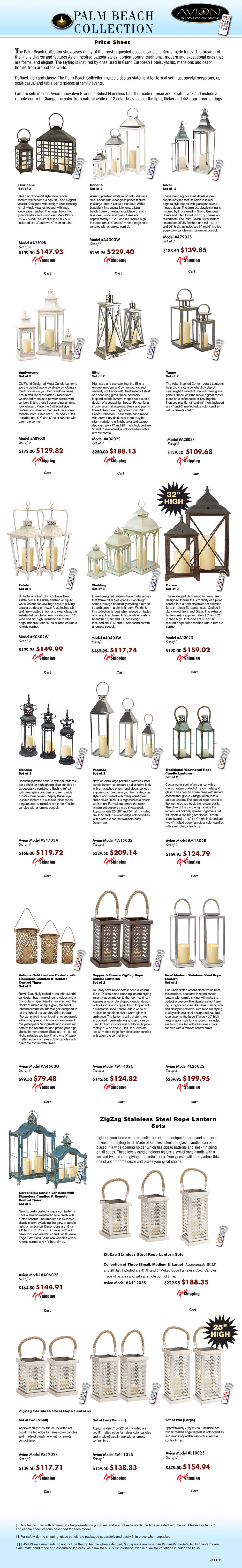 Specification sheet for avioninnovative Palm Beach tropical candle lantern. The Avion Palm Beach collection features upscale designer quality metal lanterns, wood lanterns, stainless steel lanterns from melrose, classic, traditional, modern imax, tropical urban trends, cottage style lanterns like pottery barn, gerson everlasting glow motion flame LED candles; color candles from mooncandles, Kohree, like luminara, candle lamps plus wax. The package price list includes LED battery operated candles, flameless candles, a remote control timer, candle change colors 12 different colors by remote