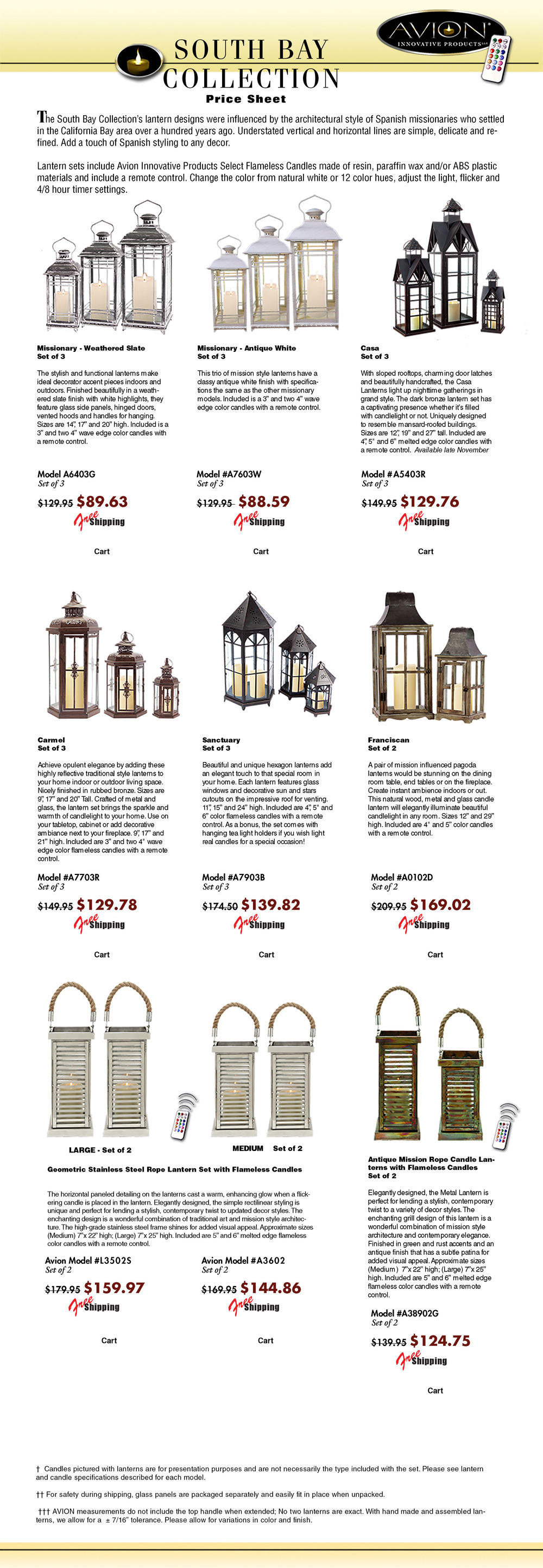 Specification sheet for South Bay avioninnovative missionary style candle lanterns. The Avion Palm Beach collection features upscale designer quality metal lanterns, wood lanterns, stainless steel lanterns from melrose, classic, traditional, modern imax, tropical urban trends, cottage style lanterns like pottery barn, gerson everlasting glow motion flame LED candles; color candles from mooncandles, Kohree, like luminara, candle lamps plus wax. The package price list includes LED battery operated candles, flameless candles, a remote control timer, candle change colors 12 different colors by remote