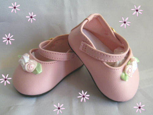 Doll Shoes Preemie  Ankle Straps with Roses Pink Only