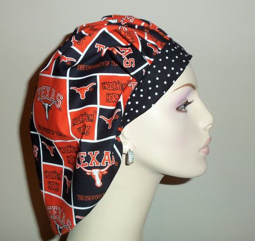 University Of Texas & Dots Bouffant or Ponytail Scrub Hats
