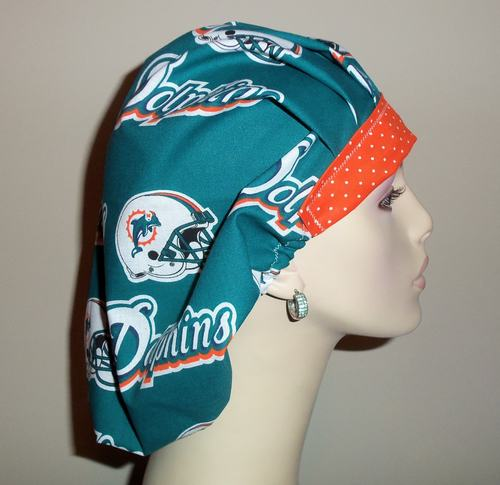 Miami Dolphins & Dots Bouffant or Ponytail Scrub Hat
