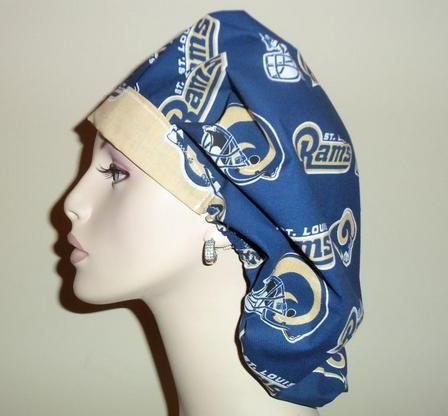 St Louis Rams Blue & Gold Bouffant or Ponytail Scrub Hats