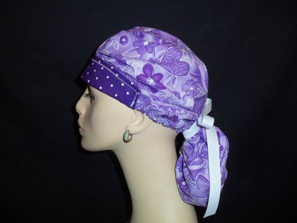 Care & Hope Purple Ribbons So Cute Ponytail Scrub Hat
