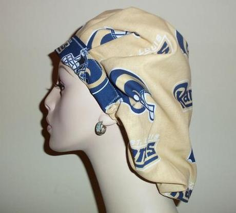 St Louis Rams Gold & Blue Vintage Fabric Bouffant or Ponytail Scrub Hats