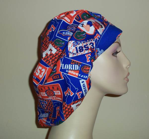 University Of Florida Gator Girl Bouffant or Ponytail Scrub Hat