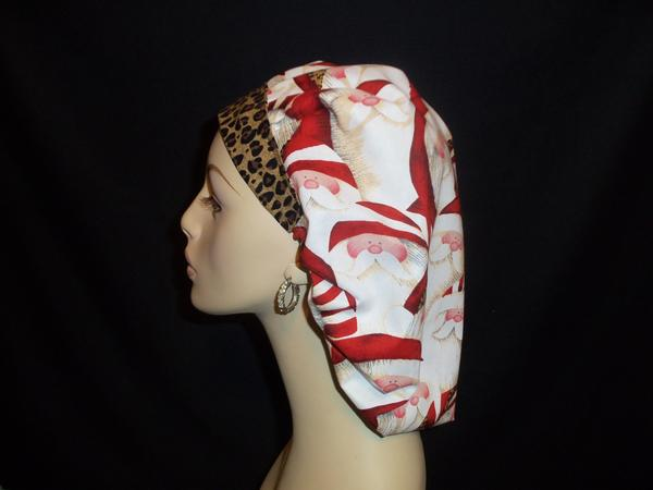 Leopard Santa Bouffant or So Cute Ponytail Scrub Hats