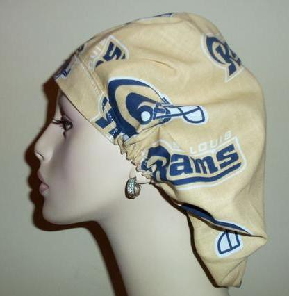 St Louis Rams Bouffant Gold Vintage Fabric Bouffant or Ponytail Scrub Hats