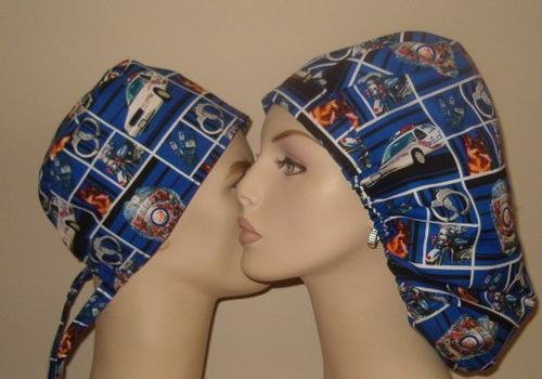 Police Law and Order Bouffant Scrub Hat