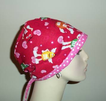 M & M's Love Thing OOAK Tie Back Scrub Hat