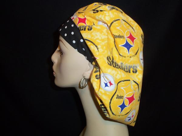 Pittsburgh Steelers Gold   Dots Bouffant or Ponytail Scrub Hats 4f6d4b7c075