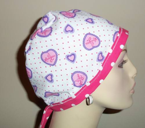 I Love You & Pink Polka Dots OOAK Tie Back