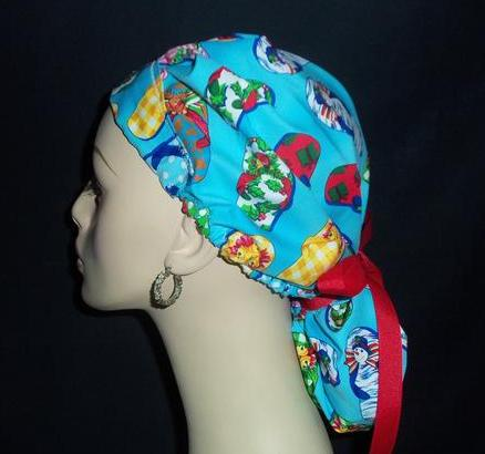 Christmas Flip Flops Bouffant With Ribbon Tie Back Scrub Hat