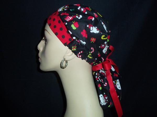 Christmas Hello Kitty & Dots Bouffant With Ribbon Tie Back Scrub Hat