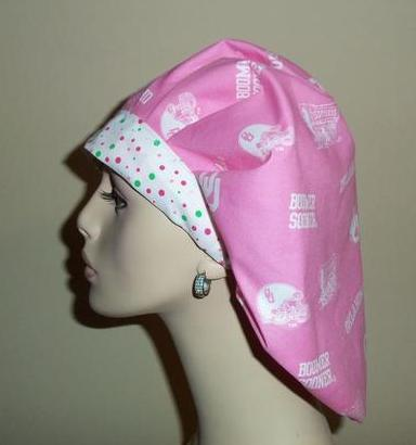 University of Oklahoma Sooners Pink Bouffant or Ponytail Scrub Hats