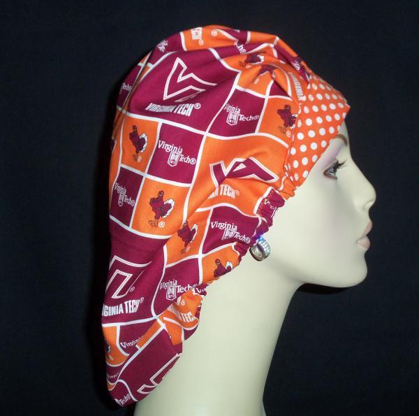 Virginia Tech & Dots  Bouffant or Ponytail Scrub Hats