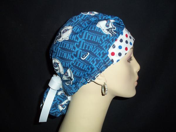 Tennessee Titans & Dots Ponytail Style Rare Fabric