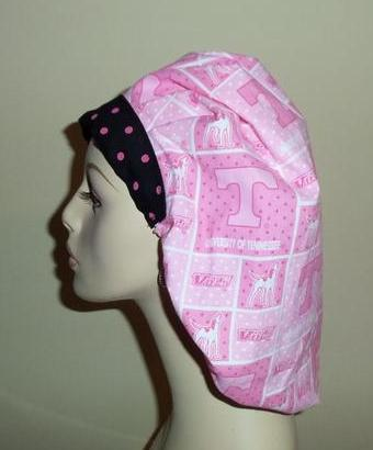 University Of Tennessee Pink Dots Bouffant or Ponytail Scrub Hat
