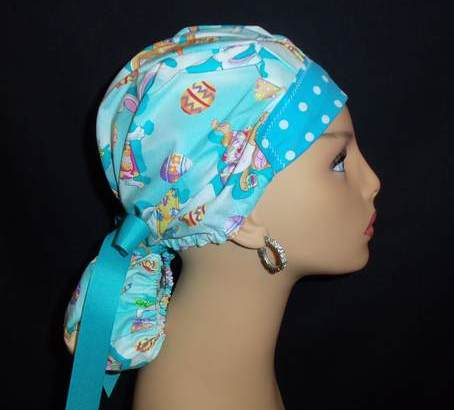 Bunny Tail Bouffant With Ribbon Tie Back Scrub Hat