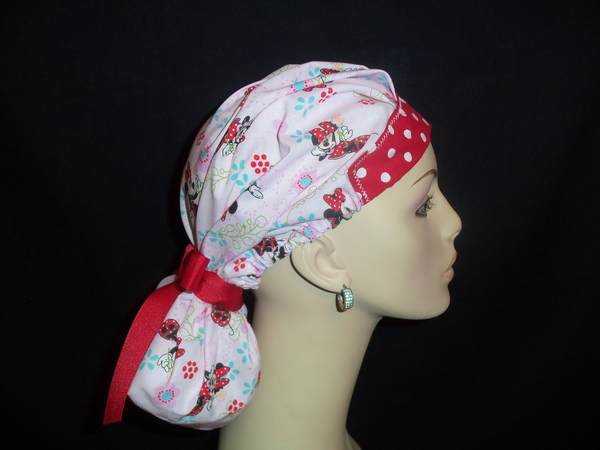 Minnie Mouse & Dots So Cute Pony Tail  Scrub Hat.