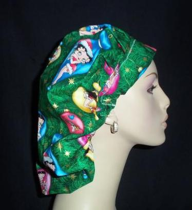 Betty Boop Christmas Bouffant Scrub Hat