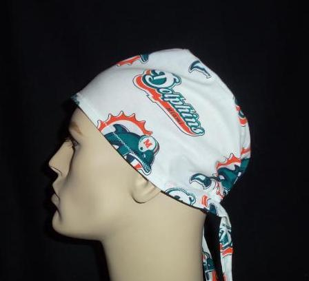 Miami Dolphins Out of Print Rare Fabric White Tie Back