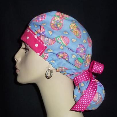 Paas Easter Eggs & Dots So Cute Pony Tail Scrub Hat