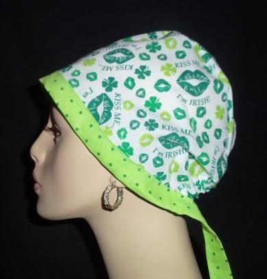 Kiss Me I'm Irish & Dots Tie Back Scrub Hat